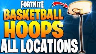 Fortnite - SCORE A BASKET ON DIFFERENT HOOPS - All Basketball Hoop Locations! Season 5 Week 2