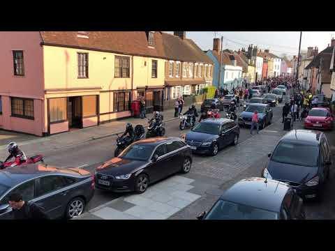 Keith Flint funeral procession through Bradford Street in Braintree, UK, Prodigy