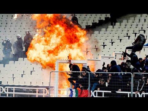 AEK ATHENE VS AJAX HOOLIGANS (MOLOTOVS & FIREWORK) 27-11-2018