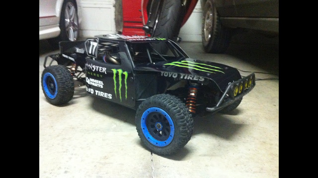 Losi 5ive t Red X RC Thrasher Body with my Monster Theme
