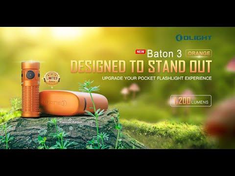Senter Olight Baton 3 Premium Edition Orange Flashlight Rechargeable