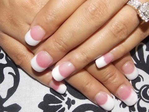 Diy Pink White Acrylic Tutorial With Nail Tips