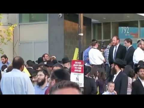 Jews Protest Councilman David Greenfield, Crown Heights Brooklyn NY 08/26/15