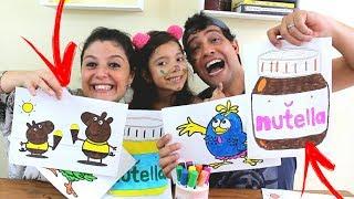 DESAFIO COLORINDO COM 3 CORES, NUTELLA, PEPPA PIG E GALINHA PINTADINHA ( 3 MARKER CHALLENGE )