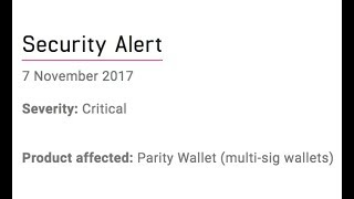 Ethereum Parity Multisig Funds Frozen - Live From Australia