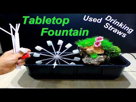 How to make Tabletop water Fountain using Drinking Straws and Bottle Caps / DIY
