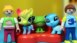 Tęczowi przyjaciele w przedszkolu - Playmobil & Littlest Pet Shop - bajka po polsku