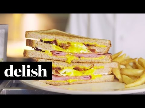 Egg in a Hole Grilled Cheese | Delish