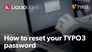How to reset your TYPO3 password