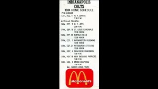 1984 - Attachment to First Indianapolis Colts Season Tickets