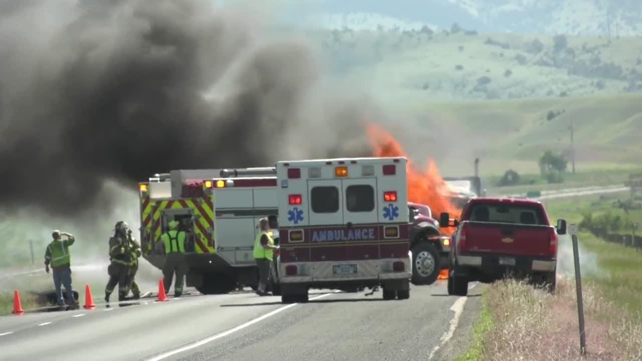 Truck fire stops I-90 East traffic