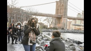 New York Brooklyn Bridge Romantic Propose