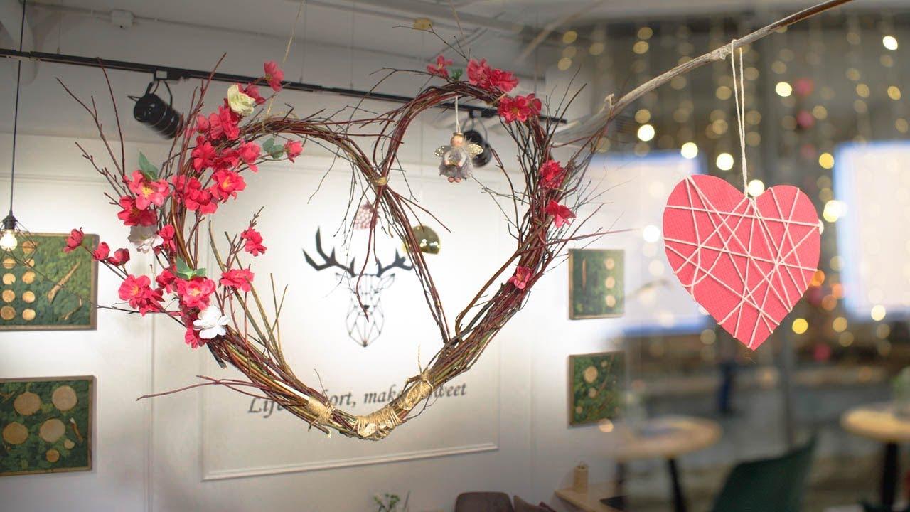 Романтичный декор. Большое сердце из веток и цветов