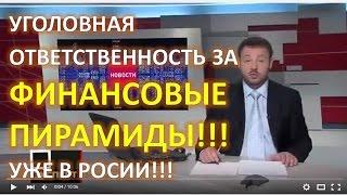 уголовная ответственность за ФИНАНСОВЫЕ ПИРАМИДЫ в России