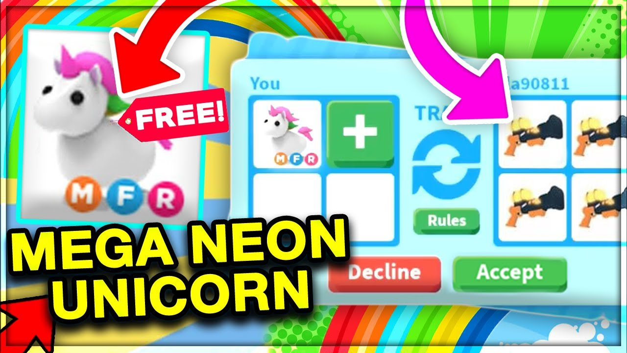 What People Trade For Mega Neon Unicorn Adopt Me Trading Roblox Youtube