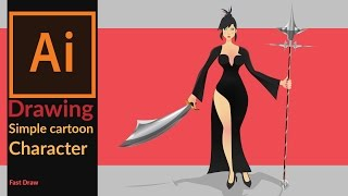 Drawing a simple 2D cartoon game character in adobe illustrator - Fast draw