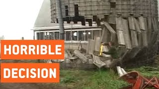 Man Knocks Down Silo With Sledgehammer | Demolition
