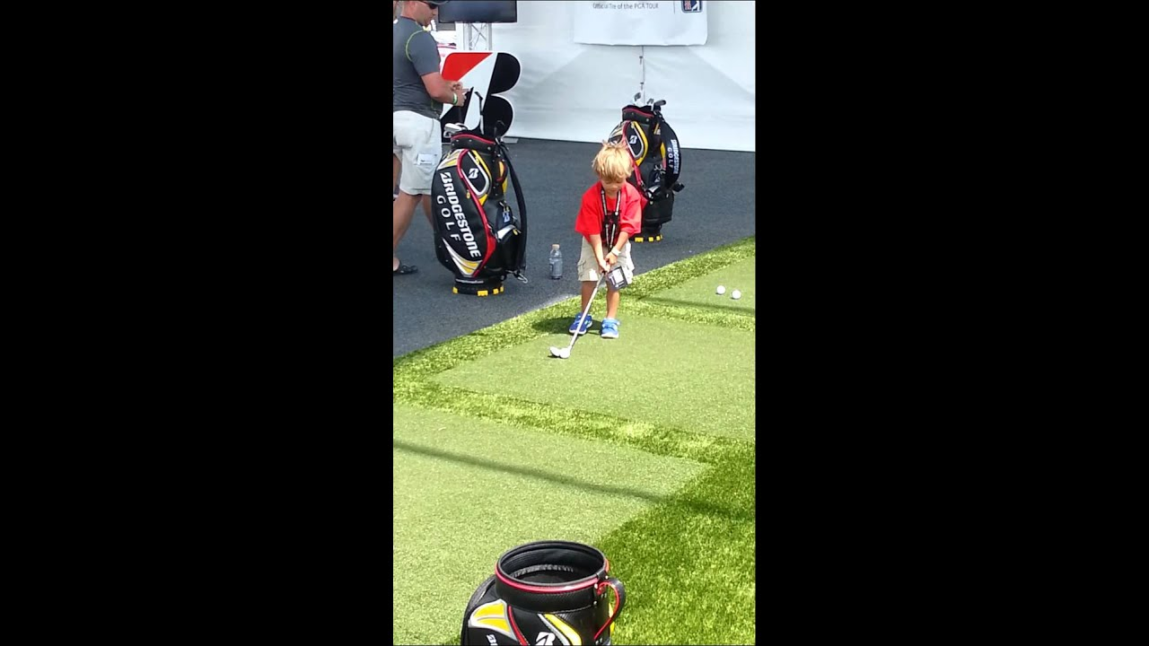 Charlie Son Of Tiger Woods Shows Off Golf Swing Youtube
