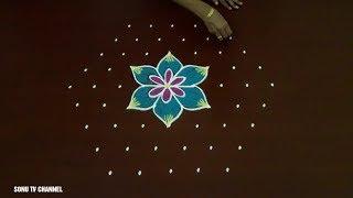 9 DOTS RANGOLI ||KARTHIGAI DEEPAM RANGOLI || SIMPLE RANGOLI  || DEEPAM RANGOLI ||