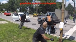 Truck Tries To Run Over Massive Group Of Bikers!  Road Rage 2016