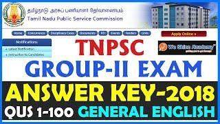 TNPSC Group 2 Answer Key 2018 | General English | Question 1 - 100 | We Shine Academy