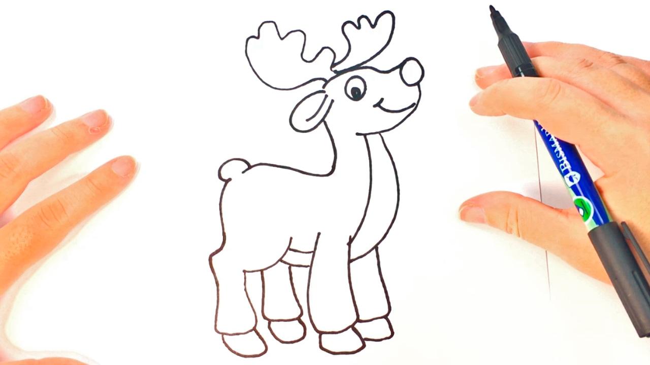 Cómo dibujar un Reno para niños | Dibujo de Reno paso a paso - YouTube