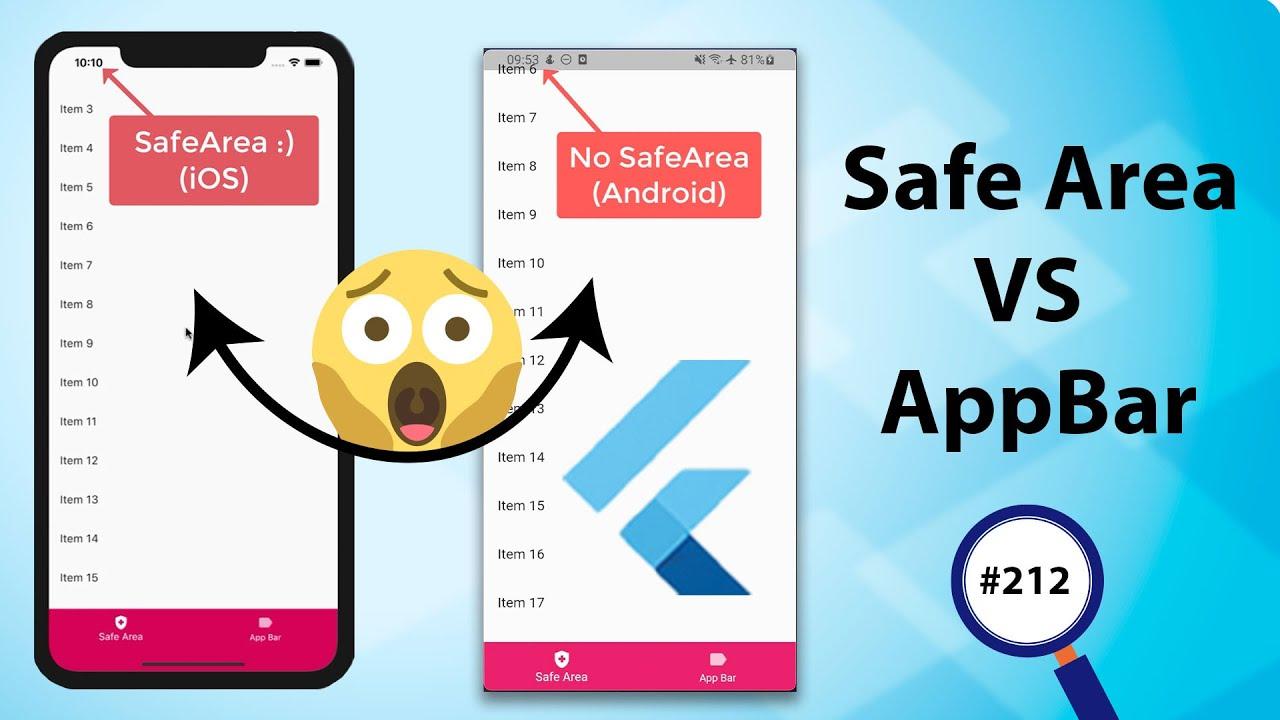 Flutter Tutorial - Safe Area VS AppBar - Android & iOS