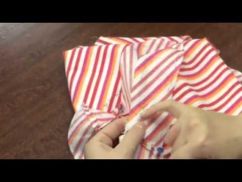 Раскладка выкройки на ткани в полоску
