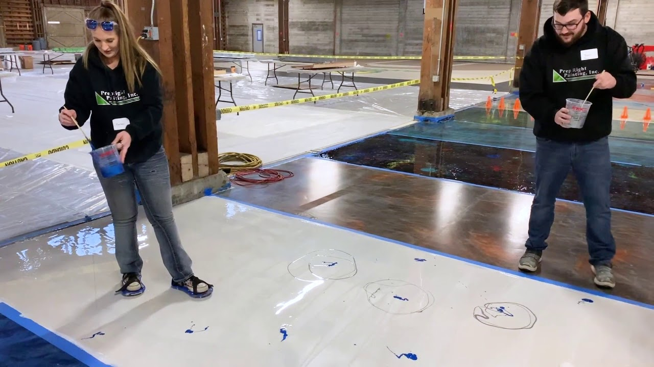Epoxy Floor White Blue And Silver