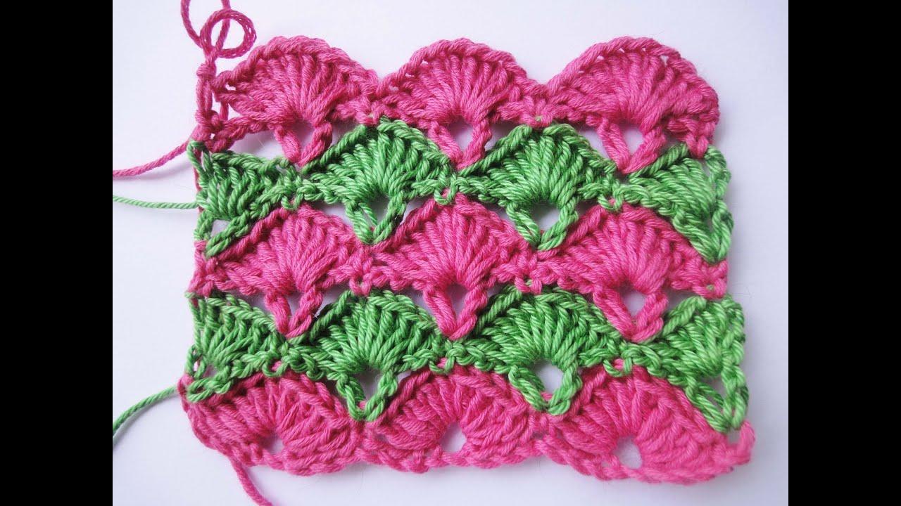 схема вязания веерок спицами