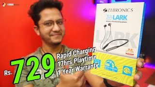 Best Budget Bluetooth Neckband Zebronics ZEB LARK Bluetooth Headset with Rapid Charging -Data Dock