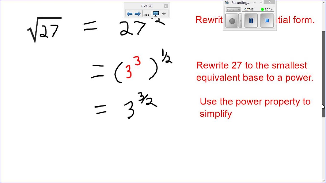 Math Simplifying Radical Expressions Using Rational Exponents 1