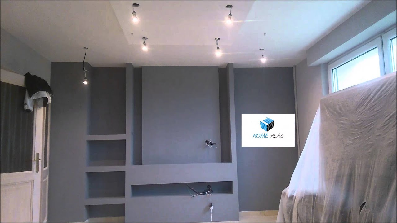 comment faire un meuble tv en placo youtube. Black Bedroom Furniture Sets. Home Design Ideas
