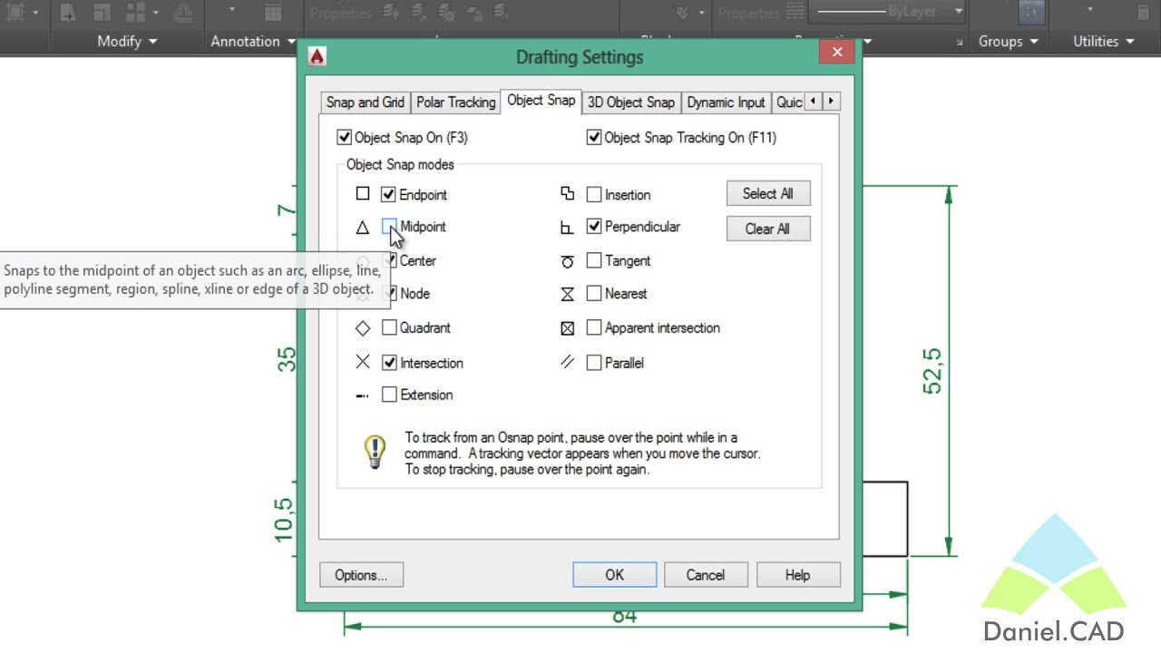 how to add snap to make square auto cad