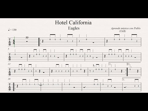 HOTEL CALIFORNIA:  TAB (guitarra...) (tablatura con playback)