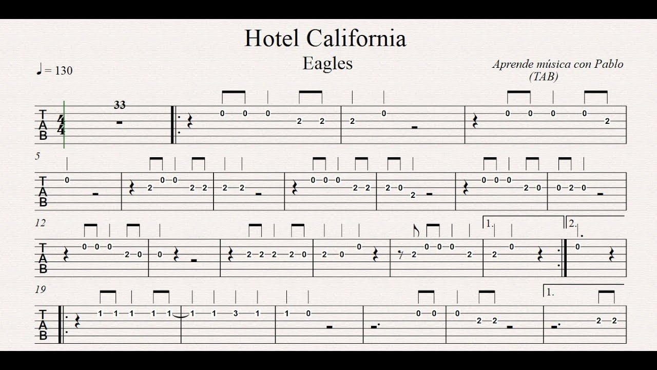 HOTEL CALIFORNIA: TAB (guitarra...) (tablatura con playback) - YouTube