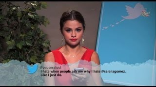 Demi lovato selena gomez read mean tweets on jimmy kimmel! watch full video: http://www./watch?v=zu5oo23g67w http://bit.ly/subclevvernews - subscr...