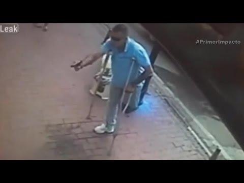 Sicario sin una pierna es captado en video tratando de asesinar una persona
