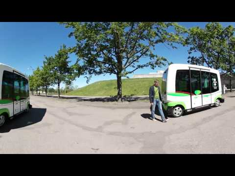 Self driving bus Ligier EZ-10 in Tallinn, near the Culture Hub
