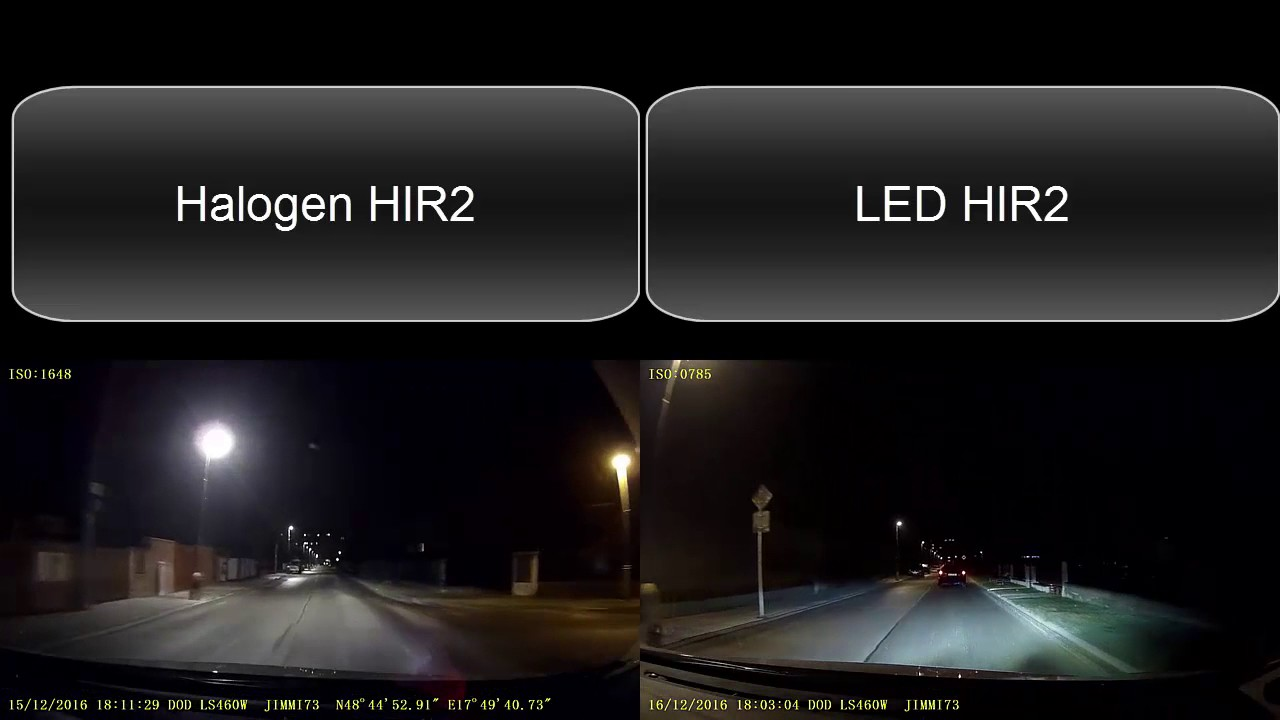 Hir2 Headlamp Led Versus Halogen Youtube