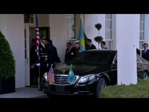 President Donald Trump greets Kazakhstani President Nursultan Nazarbayev at the White House.