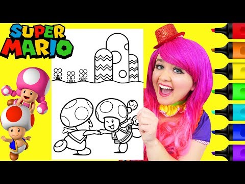 Coloring Toad & Toadette Super Mario Nintendo Coloring Page Prismacolor Markers   KiMMi THE CLOWN