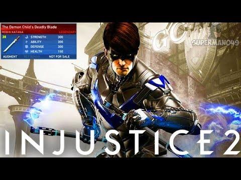 "Legendary Nightwing With Staff Of Grayson! - Injustice 2 ""Robin"" Legendary Gear Gameplay"