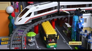 lego wheels on the bus with high speed passenger train and tayo buses    lego story   4k   kiddiestv
