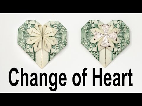 $1 Origami Change Of Heart - How To Fold A Dollar Into A Change Of Heart