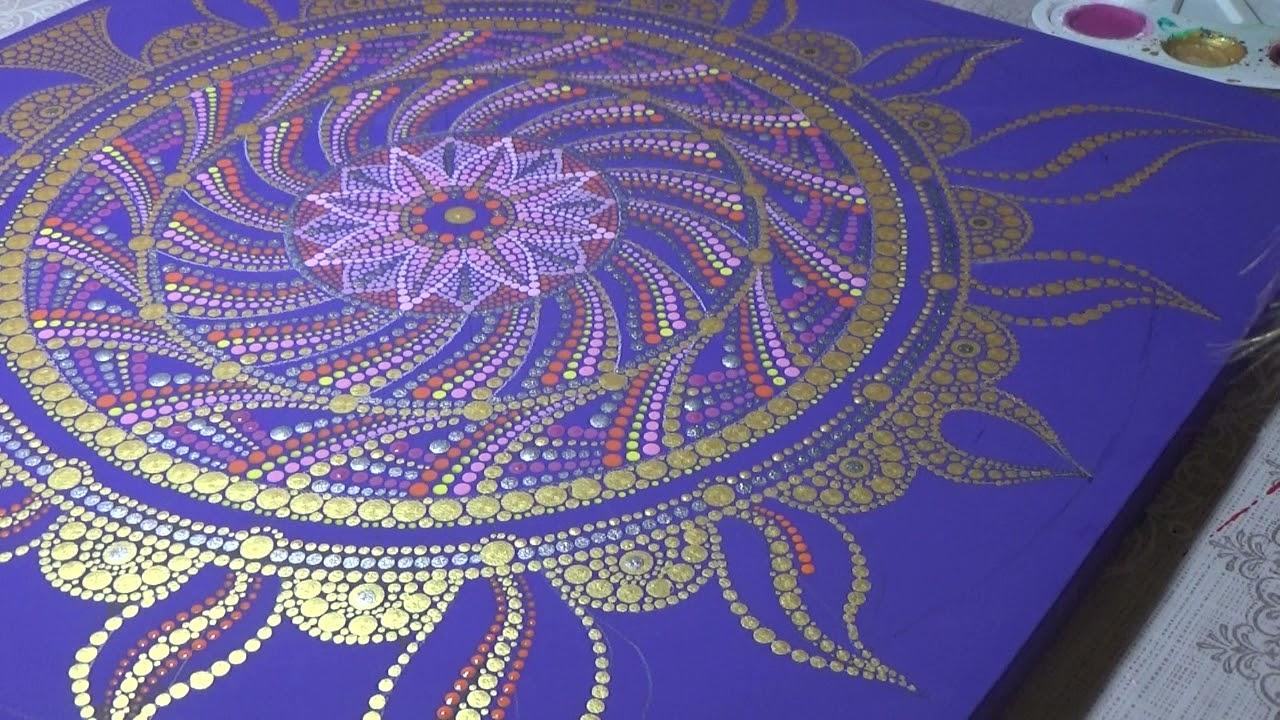Dot painting mandala. Acrylic Painting. Mandala 50х50 cm fragment