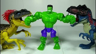Marvel Hulk is strong! He helps Batman defeat Dinosaur Toys and Villain Toy! #LotsMoreToys