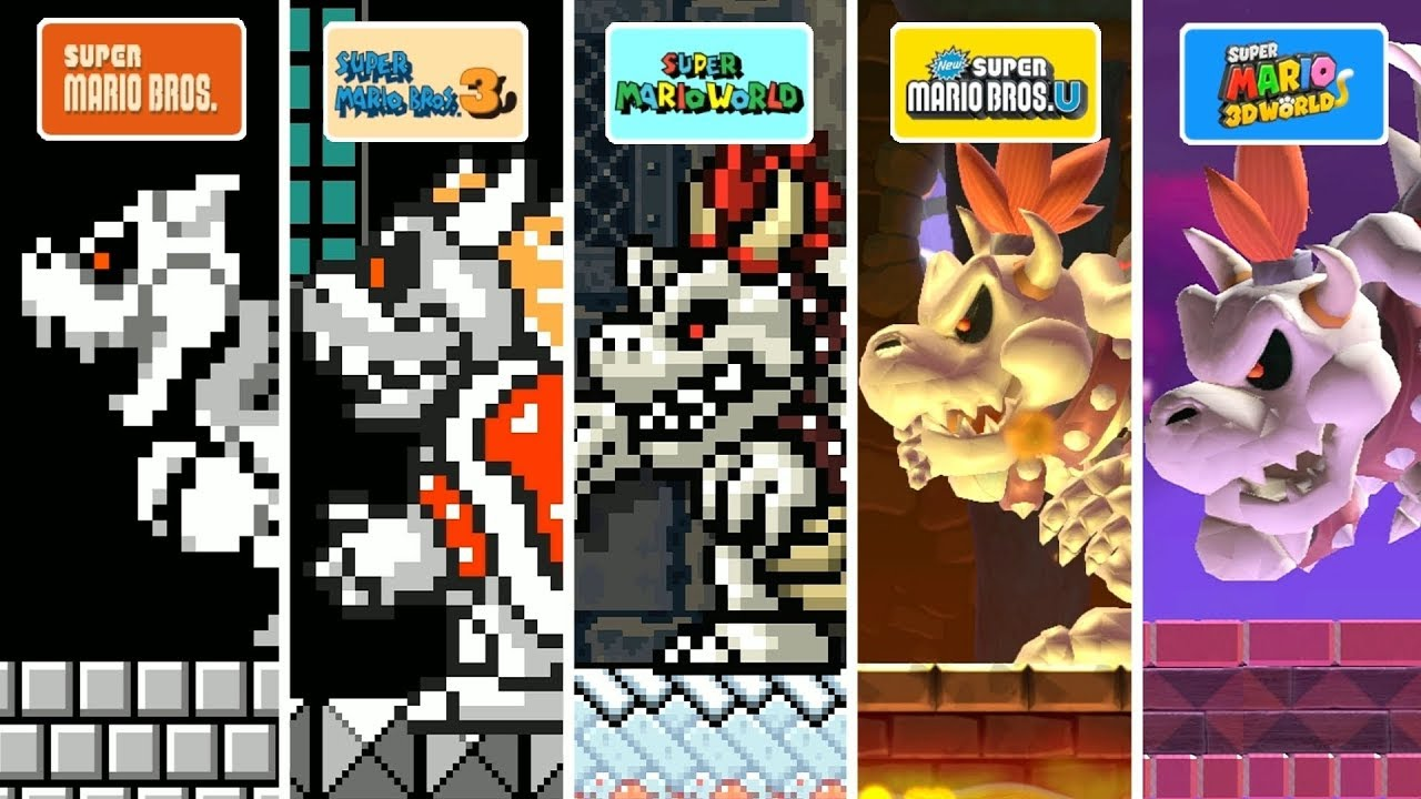 Super Mario Maker 2 All Dry Bowser Forms Youtube