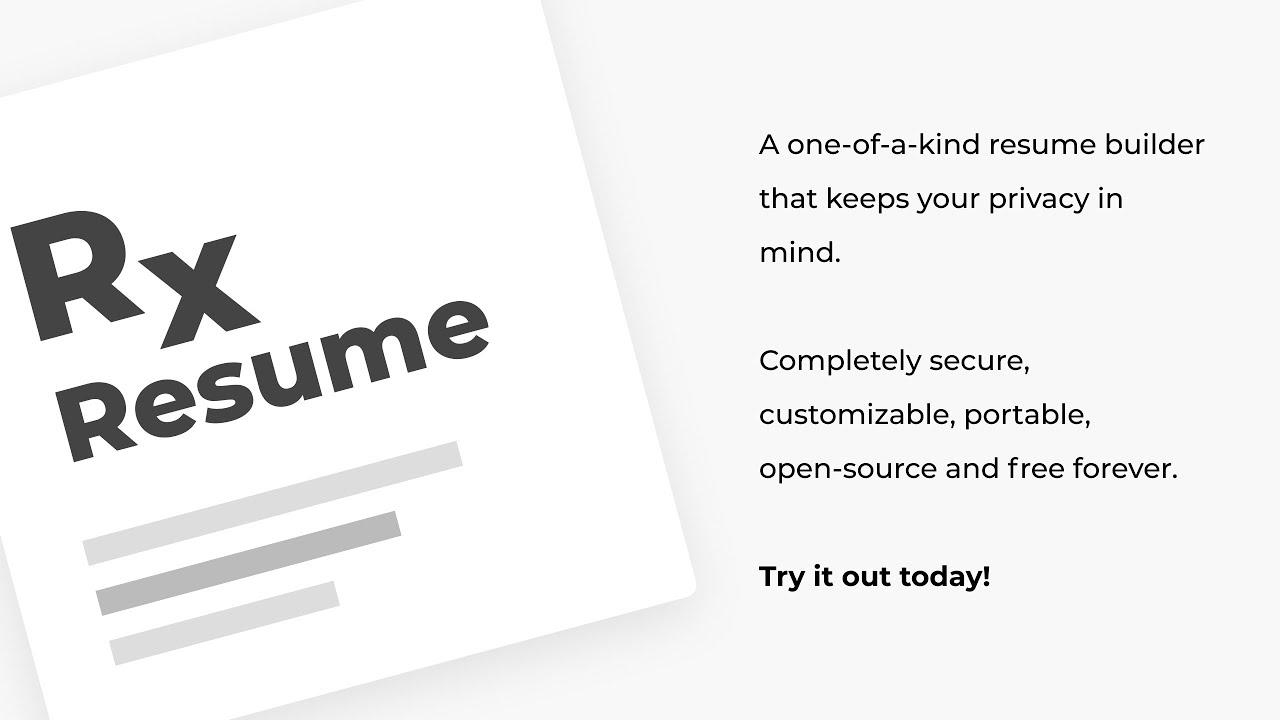 Reactive Resume Free Open Source Resume Builder Youtube
