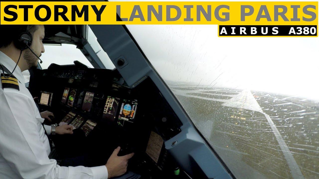 Airbus A380 Stormy Landing Paris - Pilot Alexander ✈️